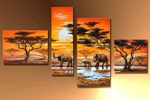 barato elefante africano m6 4 imagen cuadros en lienzo completo pintado a. Black Bedroom Furniture Sets. Home Design Ideas