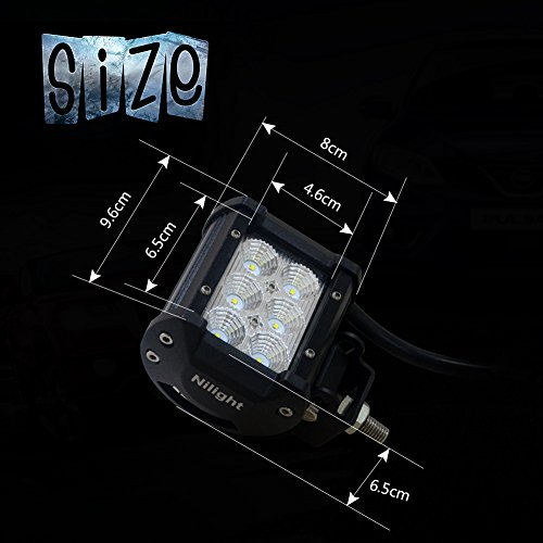 Nilight 2 X 18w Cree LED Work Light Bar Flood Beam 60 Degree Waterproof for Off-road Truck Car ATV SUV Jeep Boat 4wd ATV Auxiliary Driving Lamp