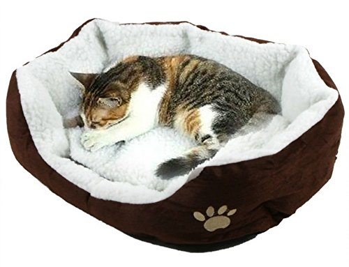 Soft Cozy Bed With Removable Mat For Small Dog Or Cat (Coffee Color)