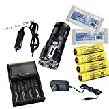 Nitecore TM26 Flashlight Tiny Monster 3800 Lumen 4 x Cree XM-L LED Flashlight Maximum Runtime 1000 Hours+D4 Charger+4*NL189 3400mAh Battery+2*Battery Box