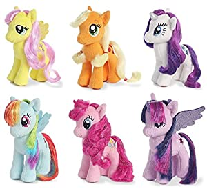 "Aurora My Little Pony 6.5"" Plush Figure Set of 6 - Applejack, Rarity, Fluttershy, Rainbow Dash, Pinkie Pie & Twilight Sparkle"