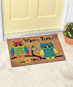 Whimsical owl whoo 39 s there colorful coir for Door mats amazon