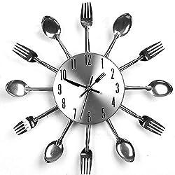 LING'S SHOP New Modern Design Sliver Cutlery Kitchen Utensil Wall Clock Spoon Fork Clock
