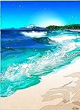 鈴木英人小作品 版画 「ハーフマイル ビーチ」 フレーム 付き