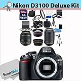 Nikon D3100 14.2MP DX-Format CMOS Sensor Digital SLR Camera (Black) with 18-55mm f 3.5-5.6G AF-S DX VR and 55-200mm f 4.5-5.6G ED VR AF-S DX NIKKOR Zoom Lenses + Wide Angle + Telephoto + Full 32GB Deluxe Accessory Bundle