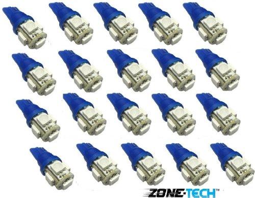 Zone Tech 20X 194 168 2825 5-Smd Blue High Power Led Car Lights Bulb