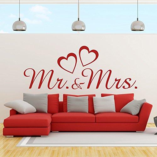 eDesign24 Wandtattoo Mr and Mrs Herr und Frau Ehepaar Hochzeit Heirat Herzen Liebe Wanddekoration Wanddesign ca. 80 x 30 cm rot
