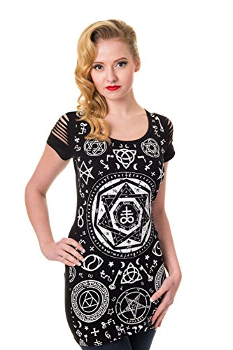 Shirt Pentagram Nero Top Banned - UK 14 / US 10 / EU 40
