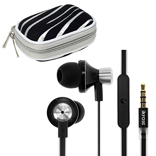 Ikross 3.5Mm Stereo Earbuds With Microphone + Silver Zebra Small Accessories Case For Lg G3, Volt, Optimus Exceed 2, Optimus L90, Optimus L70, Lucid 3, Optimus Zone 2, Extravert 2, G Pro 2, Optimus F3Q, G Flex, G2 And More