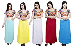 Pistaa combo of Women's Cotton Sky Blue, Lemon Yellow, Milky White, Rani Pink and Turquoise Blue Color Best Indian Comfort Inskirt Saree petticoats