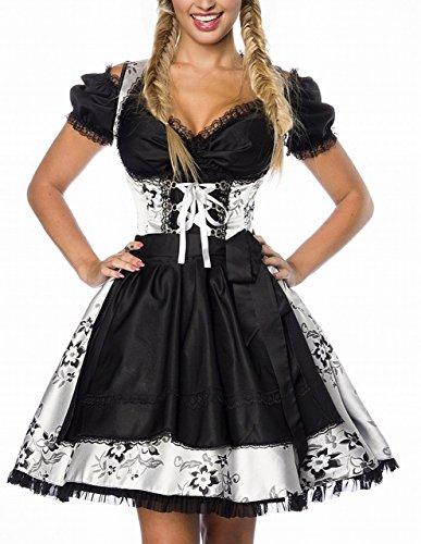 Dirndl abiti tradizionale-Costume da Oktoberfest, Grembiule Monaco broccato argento/nero XS