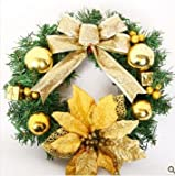 クリスマス リース 黄色 30cm リボン 花 装飾 30cm