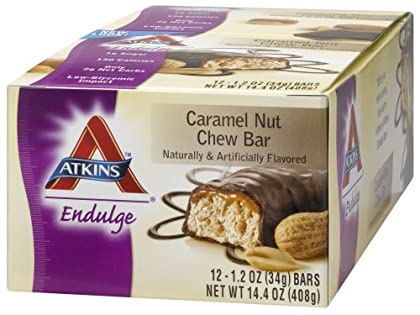 Atkins Endulge Bars, Caramel Nut Chew, 1.2-Ounce Bars – Pack of 12