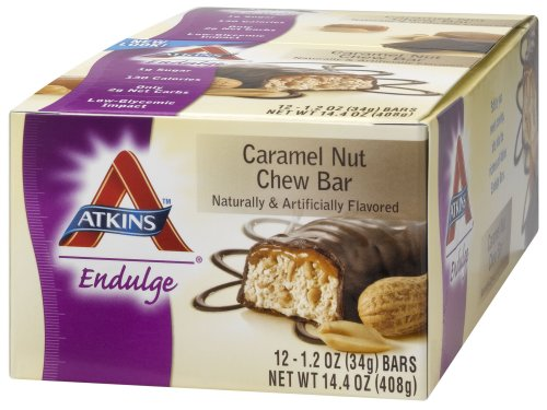 Atkins Endulge Bars, Caramel Nut Chew, 1.2-Ounce Bars (Pack of 12)