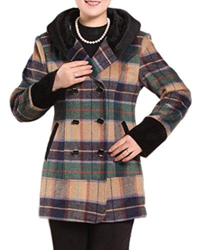 Mother'S New Winter Fashion Woolen Plaid Coat Green-Plaid3Xl