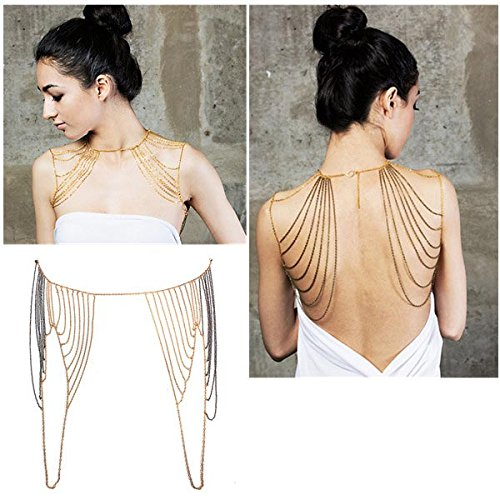 Waterfall Multilayer Sexy Golden Shoulders Body Tassel Chain Necklace By Chonlyshop
