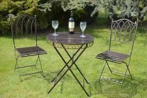 Olive grove salon de jardin en m tal style bistrot avec coussins finition bro - Salon de jardin style bistrot ...