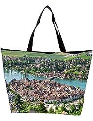 Snoogg Abstract City Designer Waterproof Bag Made Of High Strength Nylon - B01I1KHPXU