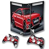 Cars 10124, Red Car, Wrap Around Skin Sticker Decal Vinyl Wrap Cover Protector with Leather Effect Laminate and Colorful Design for Xbox 360 Fat Game Console and 2 Controllers.