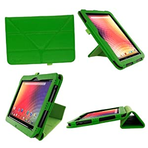 rooCASE Origami Dual-View (Green) Vegan Leather Folio Case Cover for Google Nexus 10 - Support Landscape / Portrait / Typing Stand / Auto Sleep and Wake