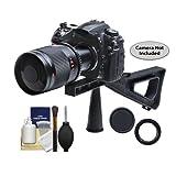 Phoenix 500mm Multi-Coated Mirror Lens with 2x Teleconverter (=1000mm) + Stedi-Stock Shoulder Brace Kit for Canon EOS 60D, 7D, 5D Mark II III, Rebel T3, T3i, T4i Digital SLR Cameras