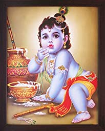 Lord Child Krishna Enjoying & Eating Butter, a Elegant Hindu Religious Poster with Framing