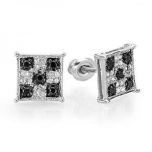 0.25 Carat (ctw) 14K White Gold Black & White Round Cut Diamond Square Shaped Micro Pave Stud Earrings 1/4 CT