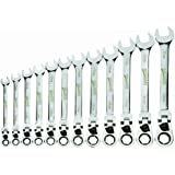 Williams MWS-12RCF 12-Piece Metric Reversible Flex Head Ratcheting Combination Wrench Set