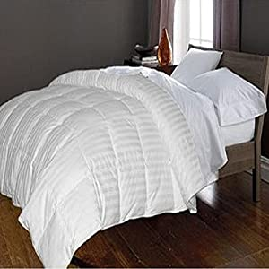 hotel grand 350 thread count damask stripe goose down and feather comforter full. Black Bedroom Furniture Sets. Home Design Ideas