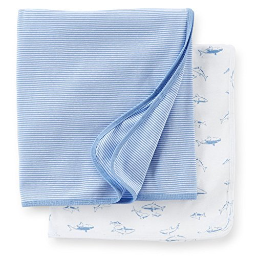 Carters 2-pack Swaddle Blankets (One Size, Blue)