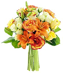Mother\'s Day Special Orange Zest Roses and Lilies - Without Vase