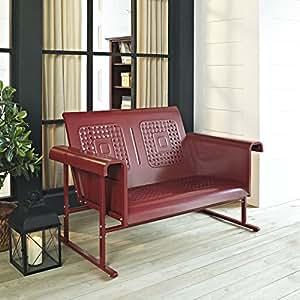 Amazon.com : Crosley Veranda Loveseat Glider, Coral Red : Patio Sofas