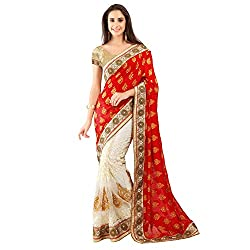 Red And Off White With Banarasi Jacquard Designer Lehenga Saree