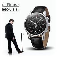 House M.D. 7165 Men's Analog Quartz Watch with Chronograph, Black Dial, Black Strap by Kronsegler
