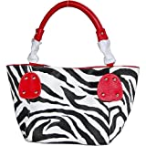 Red Large Vicky Zebra Print Faux Leather Satchel Bag Handbag Purse