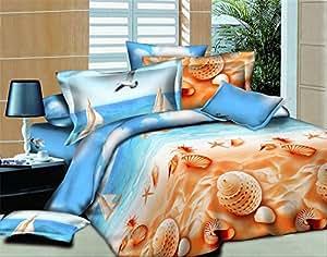 3d impression 3d aquarium plage parure de lit lit drap de lit housse de couette parure de lit. Black Bedroom Furniture Sets. Home Design Ideas