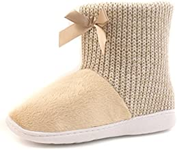 Luckers Women39s Toasty Cozy Poncho Knit with Bow Slippers Booties