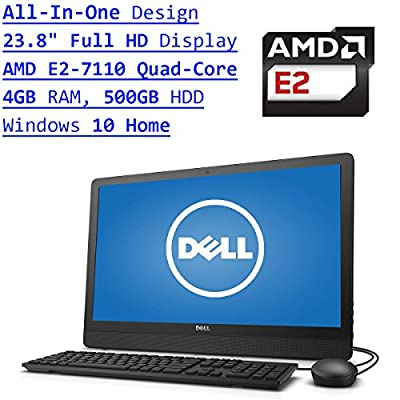 Newest Dell Inspiron 3000 All-In-One Flagship 23.8 Inch Full HD Desktop PC| AMD E2-7110 Quad-Core| Radeon R2 Graphics| 4GB RAM| 500GB HDD| DVDRW| Bluetooth| WIFI| Windows 10| Black