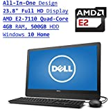 Dell Inspiron 3000 All-In-One 23.8 Inch Full HD Desktop PC (AMD E2-7110 Quad-Core, Radeon R2 Graphics, 4GB RAM, 500GB HDD, DVDRW, Bluetooth, WIFI, Windows 10, Black)