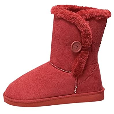 "Womens 10"" Tall Mid Calf Boots 1 Button Faux Sheepskin Fur Shearling 3 Colors (5.5, Red 91055)"