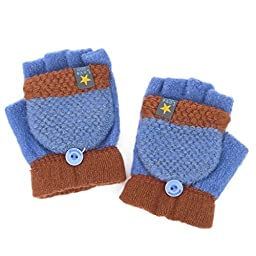 Flammi Unisex Kids Knitted Convertible Flip Top Gloves Mittens Winter Half Finger Gloves (Pair) (Blue)