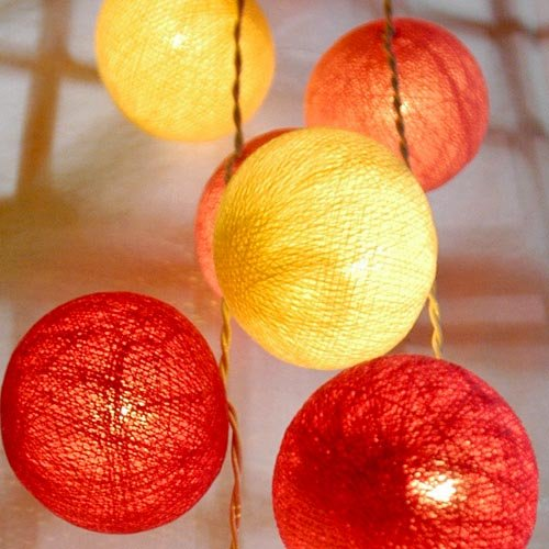 Cotton Ball String Light Set (Light Cream, Pink & Dark-Pink Colour) Code: D008 with White Cord for Birthday Party Decorating, Garden Party Decorations or Wedding Lights Product of Thailand
