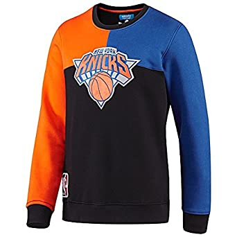Adidas Mens NBA NY Knicks Long Sleeve Crew Sweatshirt, Black Orange Blue, Large by adidas