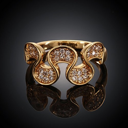 Elegant Women D¨¦Cor Xmas Gift Specially Designed Distinctive Gold Plated Cool Copper Cz Band Ring Size 8