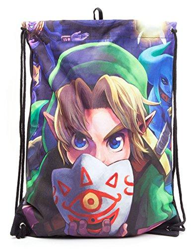 Zelda Borsa per palestra con maschera di Majora, con chiusura a cordoncino, 40cm, colore: verde