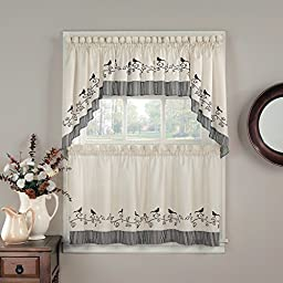 CHF Industries Birds Tiered Kitchen Curtain - One Pair