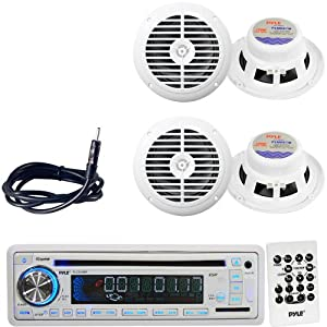 Pyle Marine Radio, Speaker and Cable Package - PLCD35MR AM FM-MPX IN-Dash Marine CD... by Pyle