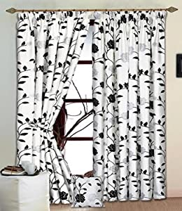 Delilah White Black Silver Raised Flock Lined Curtains 66 X 90 High Quality