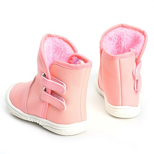 Toddler Girls' Rubber Sole Winter Snow Boots Pink US 6