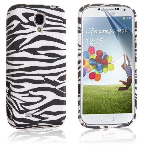 Beeshine Protective Soft Rubber Skin Flexible Tpu Gel Case Cover With Lcd Film Screen Protector For Samsung Galaxy S4 Siv I9500 (Black/White Zebra Pattern)